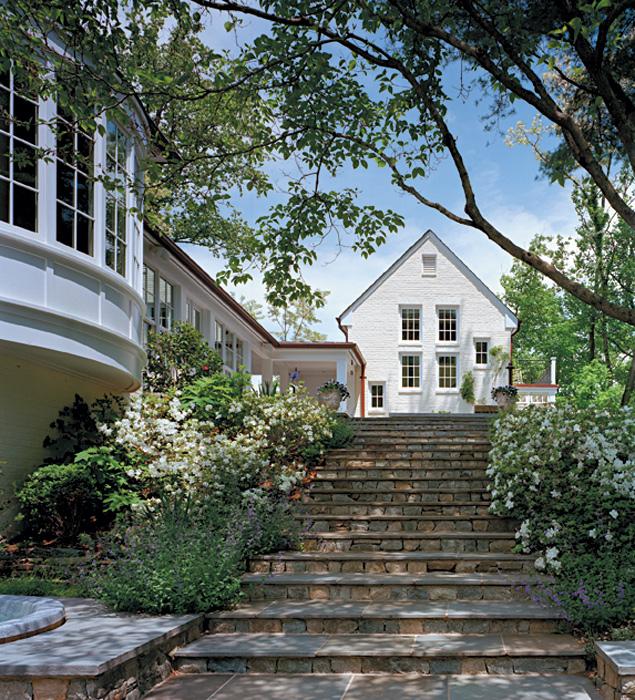 Stone stairs, Bradley Boulevard Residence