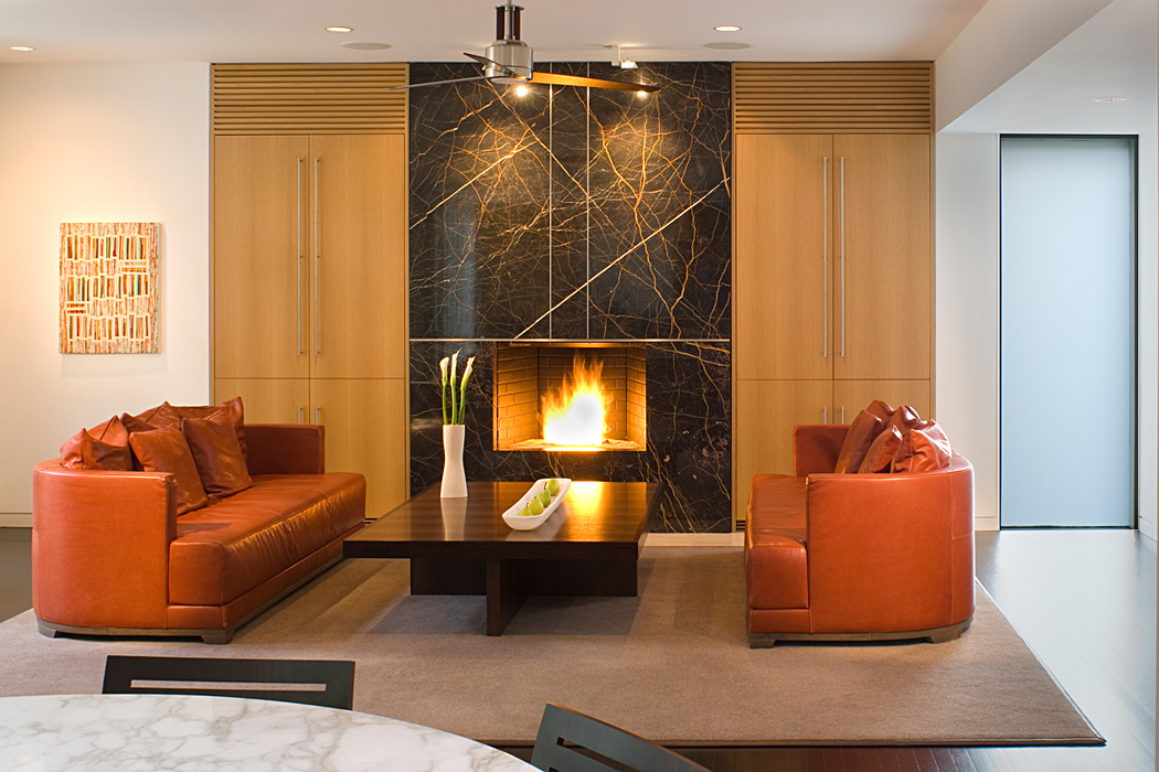 Fireplace, Quincy Street Residence, Custom home by Peterson and Collins Builders