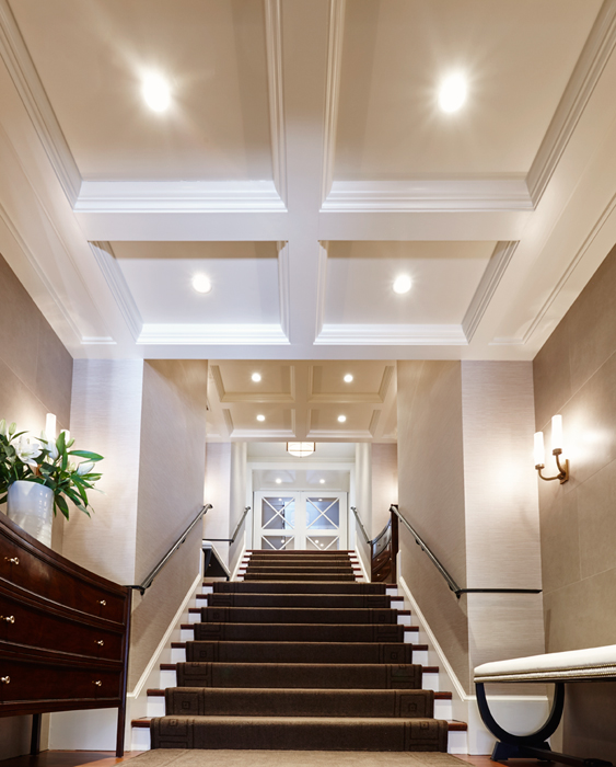Coffered Ceilings, Halcyon House Restoration excuted by Peterson & Collins