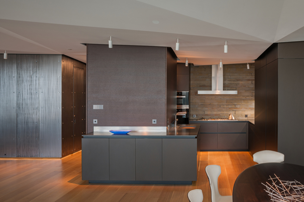 Modern kitchen, Custom penthouse, built by Peterson and Collins Builders