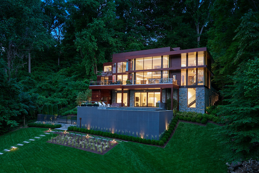 Exterior facing overlook, , Potomac Overlook Residence, built by Peterson and Collins