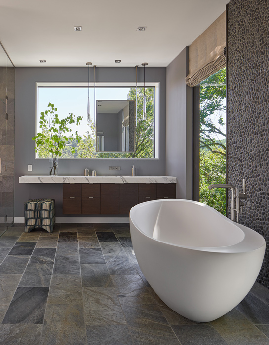 Master bath, , Potomac Overlook Residence, built by Peterson and Collins