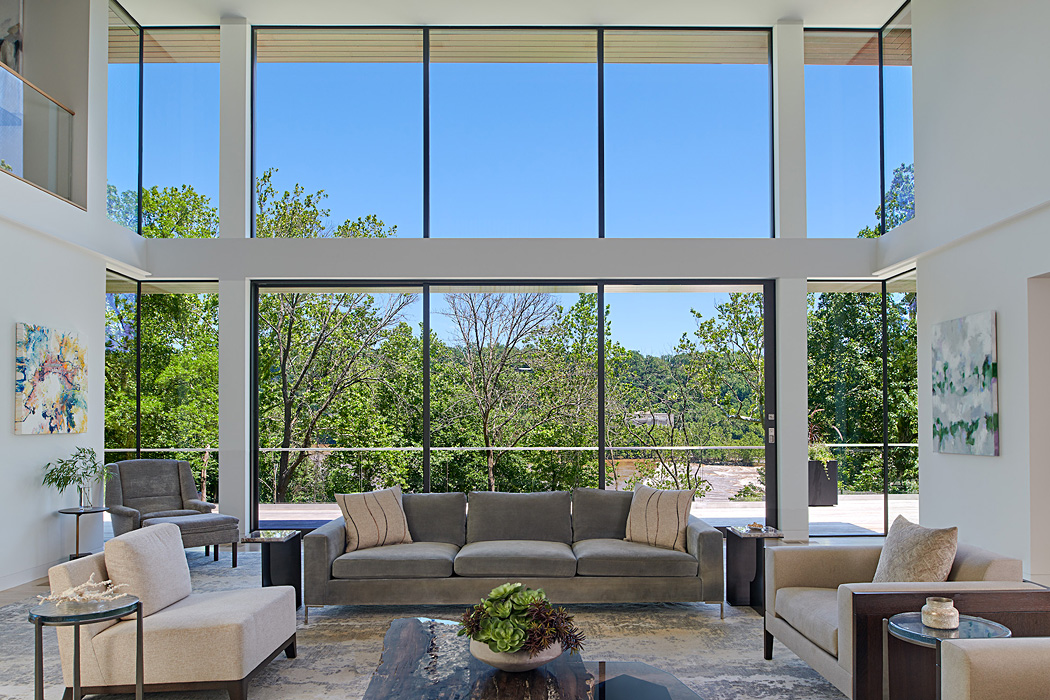 Floor to ceiling windows, , Potomac Overlook Residence, built by Peterson and Collins