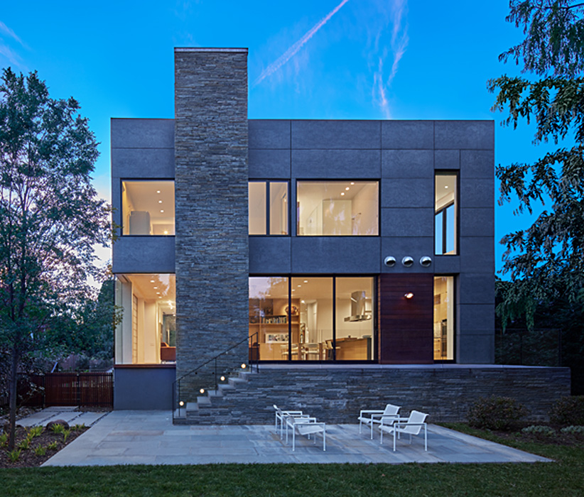 Rear Exterior, Modern Chevy Chase Residence by Peterson and Collins Builders