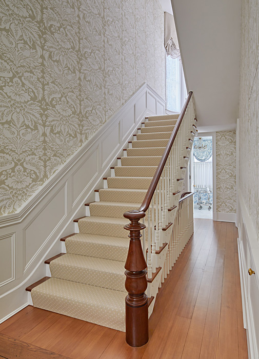 Staircase, banister and panelling