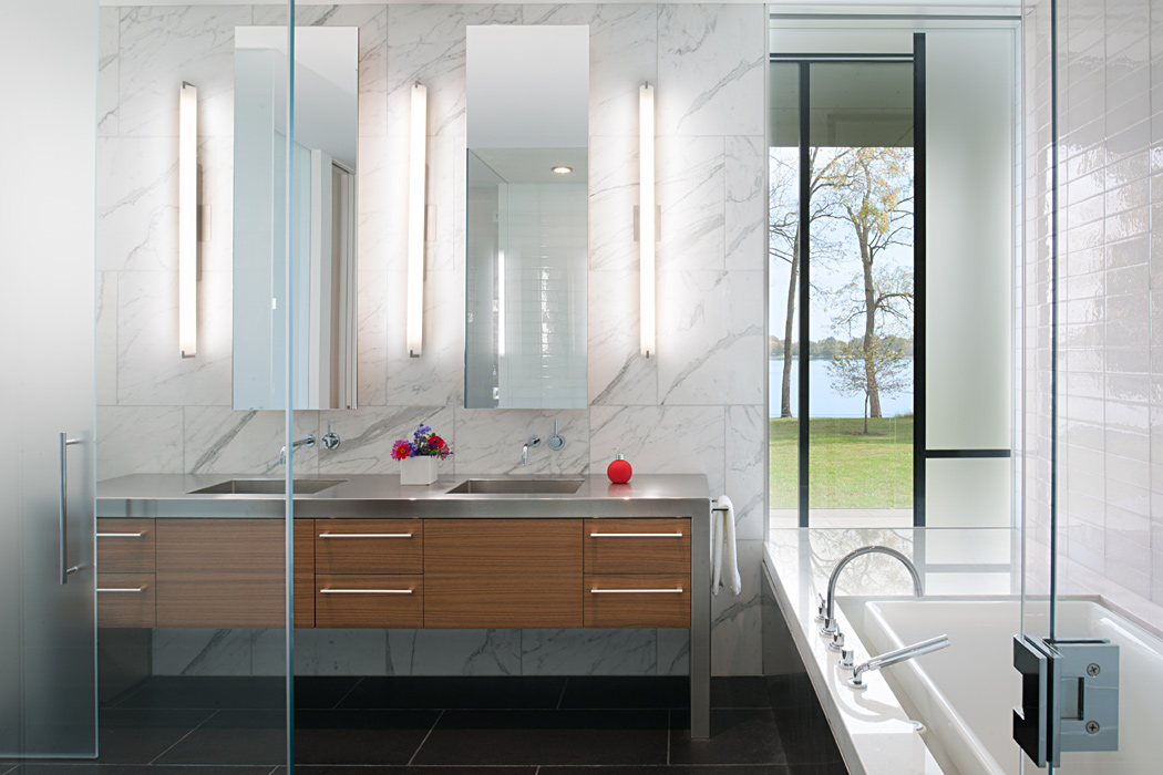 Contemporary Master Bath with a view