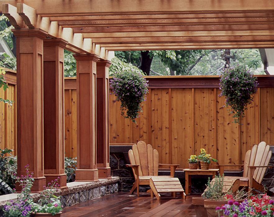 Custom Millwork, exterior columns and pergola