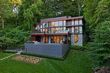 Exterior facing overlook, Potomac Overlook Residence, built by Peterson and Collins
