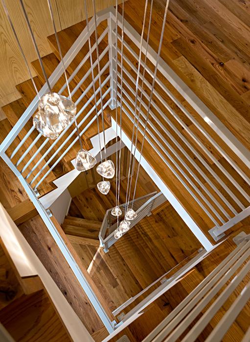 Alexandria Riverwalk Custom Home Staircase with center lighting